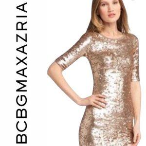 BCBGMaxazria Rose Gold Sequined Dress, XXS